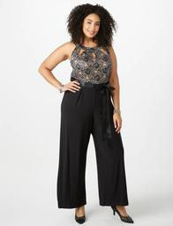 Plus Size Cutout Lace Jumpsuit