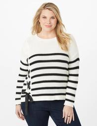 Plus Size Striped Side-Lace Sweater