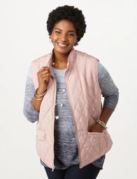 Plus Size Quilted Snap Vest