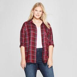 eda066d5295ed Ava   Viv™ Women s Plus Size Long Sleeve Plaid No Gap