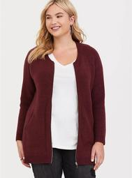 Burgundy Raglan Zip Sweater Jacket