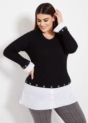 2 Fer Sweater With Grommet Trim
