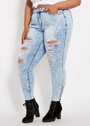 Acid Wash Jean With Side Rings