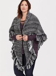 Black Grey Fringe Ruana