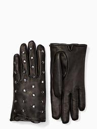 Bedazzled Leather Gloves