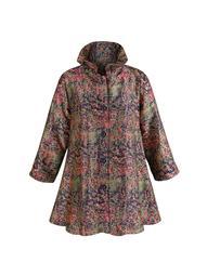 Catalog Classics Women's Impressionism Swing Jacket - Button Down Loose-Fit Coat