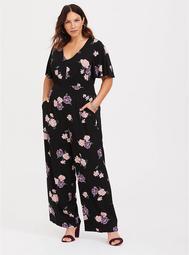 Black Floral Challis Jumpsuit