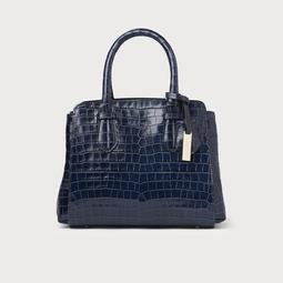 Cassandra Navy Croc Bag