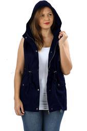 JED FASHION Women's Plus Size Cotton Safari Hooded Vest
