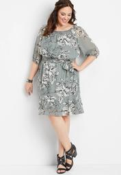 plus size off the shoulder floral tie front dress