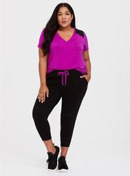 Black Active Jogger with Pink Drawstring