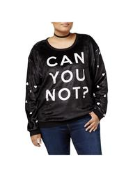Hybrid Womens Plus Can You Not? Slogan Long Sleeve Sweatshirt