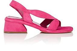 Chunky-Heel Suede Slingback Sandals
