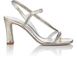 Crystal-Embellished Faux-Leather Slingback Sandals