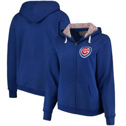 Chicago Cubs Soft as a Grape Women's Plus Size Pennant Race Full-Zip Hoodie - Royal