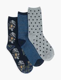 Metalwork Floral Crew Socks