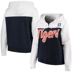 Detroit Tigers 5th & Ocean by New Era Women's Plus Size French Terry Color Block Full-Zip Hoodie - Navy/White