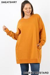 Oversized Round Neck Sweatshirt (Plus Size)