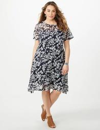 Dressbarn Plus Size Puff Print Lace Sharkbite-Hem Dress - On Sale for  $32.47 (regular price: $55.99)