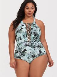Palm Leaf Strappy Wireless Slim Fix One-Piece Swimsuit