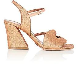 Glitter & Leather Ankle-Strap Sandals