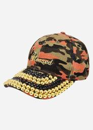 Embellished Camo Baseball Hat