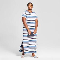 Ava & Viv™ Women\'s Plus Size Striped T-Shirt Maxi Dress - Ava & Viv™ Blue -  On Sale for $28.48 (regular price: $29.98)