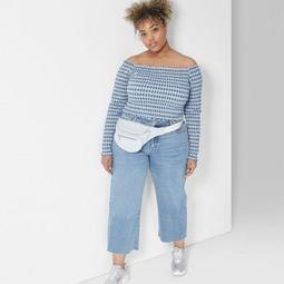 Women's Plus Size Long Sleeve Cropped Gingham Smocked Top - Wild Fable™ Blue