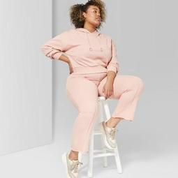 Women's Plus Size High-Waist Flare Sweatpants - Wild Fable™ Coral