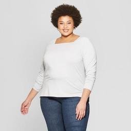 Women's Plus Size Striped Long Sleeve Square Neck T-Shirt - Ava & Viv™
