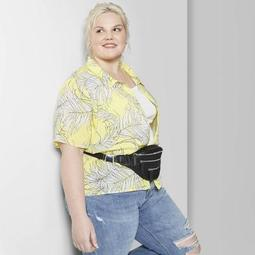 Women's Plus Size Floral Print Short Sleeve Button-Down Shirt - Wild Fable™ Yellow