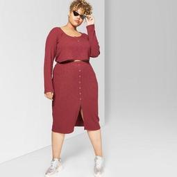 Women's Plus Size Button Front Rib Mini Skirt - Wild Fable™ Burgundy
