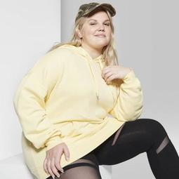 Women's Plus Size Long Sleeve Oversized Hooded Sweatshirt - Wild Fable™ Straw Yellow
