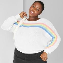 Women's Plus Size Striped Rainbow Pullover Sweater - Wild Fable™ Cream