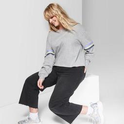 Women's Plus Size Striped Long Sleeve Boyfriend T-Shirt - Wild Fable™ Gray