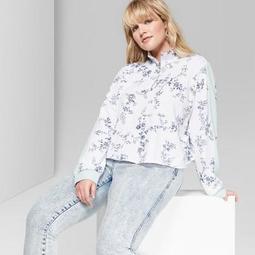 Women's Floral Print Plus Size Quarter Zip Pullover - Wild Fable™ White/Blue