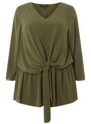 **DP Curve Khaki Manipulated Tie Front Blouse