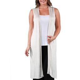 Women's Plus Size Sleeveless Long Shrug