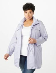 Plus Size High-Low Button Up Anorak Jacket