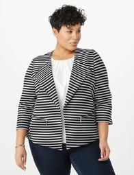 Plus Size Striped Zip-Up Pocket Jacket