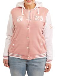 Women's Plus Size Hoodie Varsity Fleece Jacket