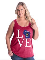 Love Wisconsin Women Curvy Plus Size Tank Tops