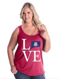Love Connecticut Women Curvy Plus Size Tank Tops