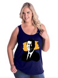 Ronald Reagan American President Women's Curvy Plus Size Tank Tops