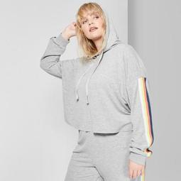 Women's Plus Size Cropped Striped Rainbow Placed Hoodie - Wild Fable™ Heather Gray