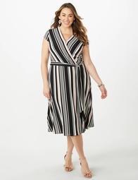 Plus Size Striped Wrap Dress