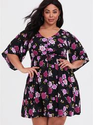 Black Floral Challis Kimono Sleeve Skater Dress
