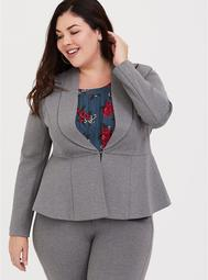 Light Grey Uptown Ponte Stretch Peplum Blazer