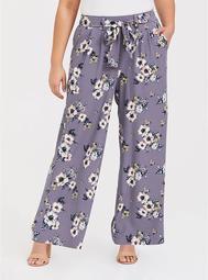 Grey Floral Crepe Wide Leg Pant