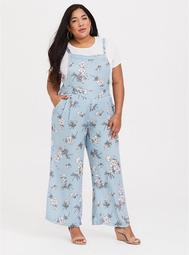 Blue Floral Crepe Wide Leg Overall